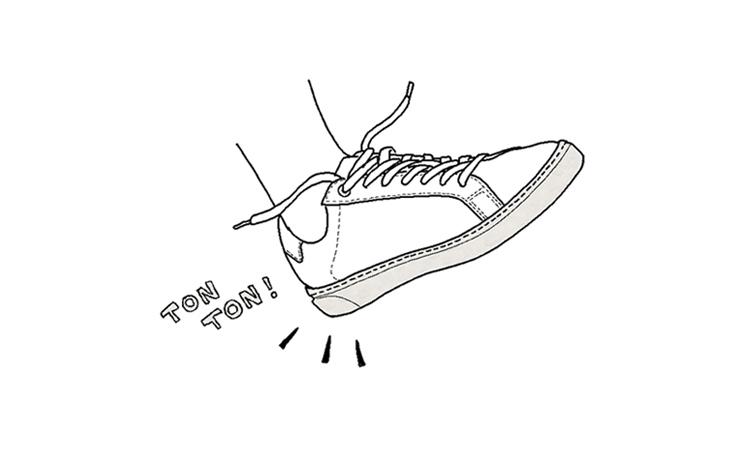 紐靴の正しい履き方