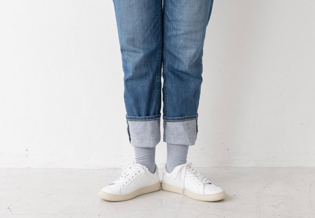 柄靴下を使ったデニムスタイル