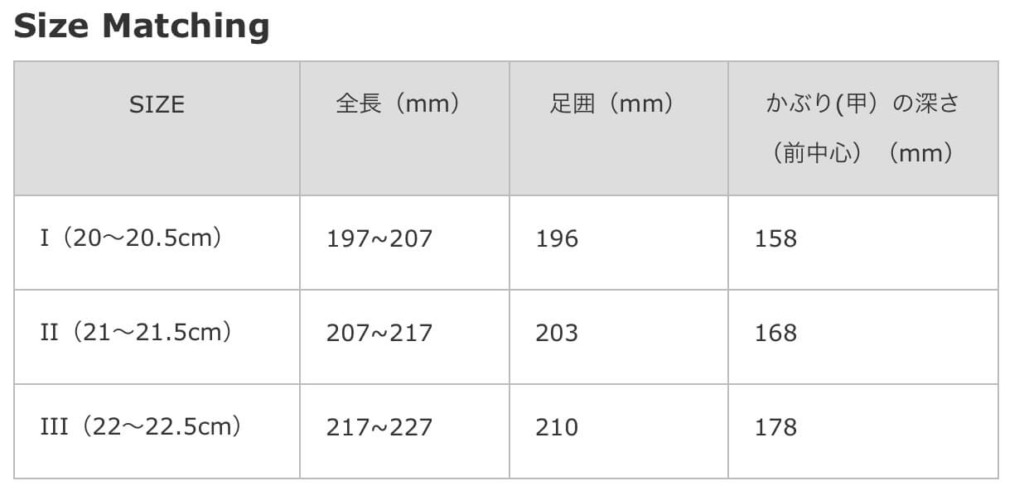 サイズマッチング表/スリッポンスニーカー