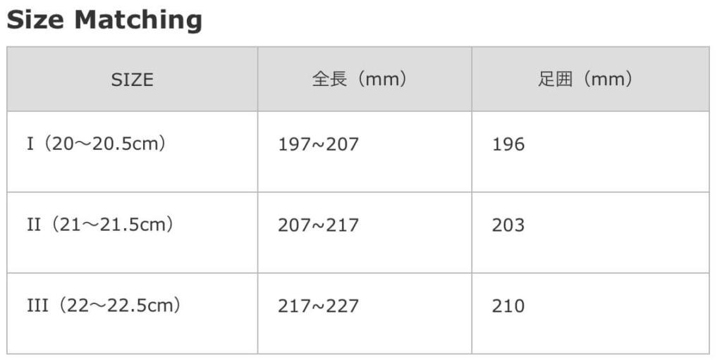 サイズマッチング表/レースアップスニーカー